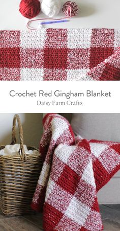 Crochet Granny Squares Blanket Crochet Red Gingham Blanket - Free Pattern - I am in love again with another crochet gingham blanket! I used a different technique to achieve this crochet red gingham blanket since I've had a hard time Crochet Afghans, Crochet Quilt, Afghan Crochet Patterns, Crochet Stitches, Knitting Patterns, Blanket Crochet, Baby Afghans, Plaid Crochet, Knit Or Crochet