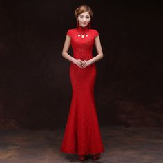 Red Chinese Dress Traditional Chinese Wedding Dress Qipao Mermaid Cheongsam Evening Gown Lace Oriental Desses Robe Chinoise TSHN #Affiliate