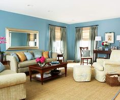 #Blue walls with neutral furniture from BHG