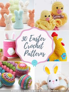 30 Easter Crochet Patterns 30 Easter Crochet FREE Patterns that you can make in no time! Bunnies, chicks and little lambs – invite all those cute creatures to your home. Crochet Easter, Easter Crochet Patterns, Crochet Basket Pattern, Holiday Crochet, Crochet Crafts, Easy Crochet, Crochet Projects, Free Crochet, Crochet Baskets