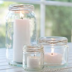 36 glass jars - 12 each of 3 sizes - Rustic chic wedding decor - Candles, flowers Jam Jar Candles, Large Pillar Candles, Glass Candle, Glass Jars, Candle Jars, Candle Centerpieces, Wedding Centerpieces, Wedding Decorations, Centrepiece Ideas