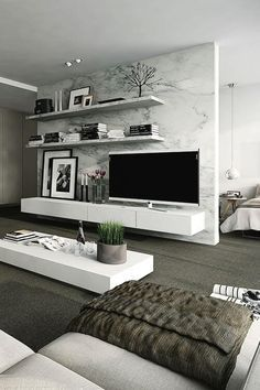 Interior design ideas for a luxury living room decor. On this living room you can see extraordinary furniture design pieces. Living Room Modern, Living Room Designs, Modern Bedrooms, Tv Wall Ideas Living Room, Living Room Tv, Living Room Ideas Modern Contemporary, Small Living, Living Room Wallpaper Accent Wall, Luxury Living Rooms