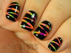 Easy neon nail art for short nails. Sponge on neon polish or you could even water marble it. Just so you have a rainbow of color it doesn't matter how you do it. Tape it off and pain the whole nail black. When it dries remove the tape. You now have a neon scratch off board look!