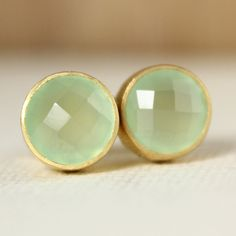 Gold Green Chalcedony Stud Earrings  Post Setting  Honey by OhKuol, $45.00
