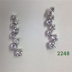 """Silver 8 Clear CZ Post Earrings 11/2"""" long"""