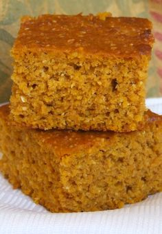 Best- Ever PUMPKIN CORNBREAD #recipe (my family loves this dunked in chili or eaten alongside soup with a generous smudge of butter).  SO easy to make - from RecipeGirl.com