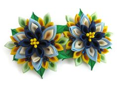 Blue yellow toddler ponytail holders Set of 2 by SummerForYou