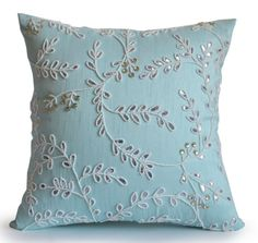 Teal Throw Pillows Bead Sequin Detail Spring Summer by AmoreBeaute