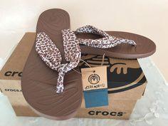 d54b7bbae Crocs Flip Flop Leopard Print Sandals Size 9 Open Minded Wave Seeker Summer