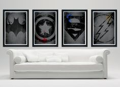 Superheroes logo poster set, Batman, Captain America, Superman, Flash //12x18 matte finish print//