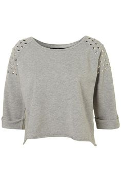 Petite stud shoulder sweater | Topshop