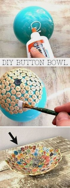 Easy and cheap craft ideas for kids and adults. I love this button bowl using ju. Easy and cheap craft ideas for kids and adults. I love this button bowl using ju… Easy and cheap craft ideas for kids and adults. I love this button bowl using just Kids Crafts, Adult Crafts, Easy Diy Crafts, Button Crafts For Kids, Kids Diy, Xmas Crafts To Sell, Crafts With Corks, Crafts Cheap, Simple Crafts