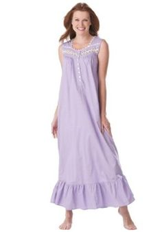 Dreams And Company Plus Size Sweeping Cotton Gown Dreams & Co (Lavender,3X) DREAMS. $17.49