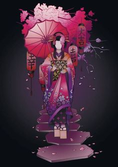 Graphic geisha with umbrella vector art illustration Geisha Art, Free Vector Art, Image Now, Traditional Outfits, Adobe Illustrator, Asian Girl, Royalty, Illustration, Anime