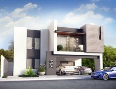 Project Contemporary Facade Visualetts Design Studio Architecture & Design Architecture Source by Bungalow House Design, House Front Design, House Architecture Styles, Architecture Design, Modern House Facades, Modern Villa Design, Facade Design, Exterior Design, House Elevation