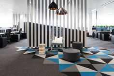Brightly patterned carpeting design at Austbrokers Countrywide Offices - Melbourne - Office Snapshots