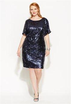 Plus Size Sequined Blouson Cold Shoulder Dress | Plus Size View All Dresses | Avenue