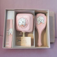 Vintage Celluloid Vanity Children BABY RATTLE Brush Comb Painted Dog Motif in Box