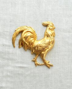 1 large raw brass rooster cock pendant charm by GloriousGlassBeads