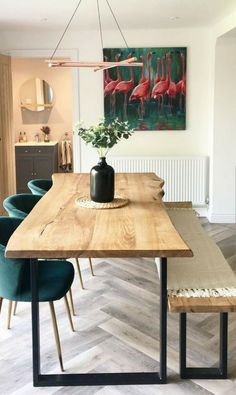 Dining Table In Living Room, Dining Table With Bench, Dining Table Chairs, Oak Table, Dining Room Design, Modern Dining Room Tables, Rustic Kitchen Tables, Reclaimed Wood Dining Table, Industrial Dining Tables
