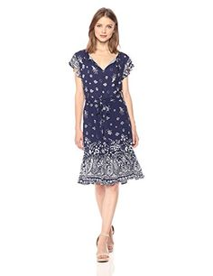 New Ella Moon Women's Susie Short Sleeve Ruffle Neck Tie Waist Midi Dress online. Enjoy the absolute best in Meier Dresses from top store. Sku ekig48574uaiv33314