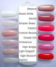 Gelish - Reserve, Sheek White, Exhale, Simple Sheer, Passion, Forever Beauty, Gossip Girl, Ambience, High Bridge, Light Elegant, Tiger Blossom, Bashful
