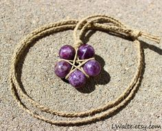 Lepidolite Hemp Wrapped Healing Crystal Star Necklace by LWaite, $21.00