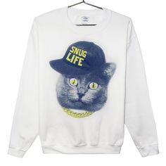 Mrow :3 http://www.etsy.com/listing/119251701/cat-sweatshirt-snug-life-blue-and-yellow