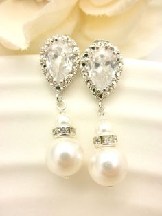 Pearl Bridal Earrings // Hollywood Bride // by AliChristineBridal, $34.00
