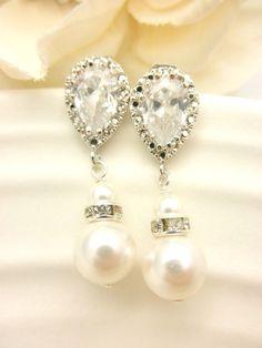 Pearl Bridal Earrings // Hollywood Bride // by AliChristineBridal, $34.00