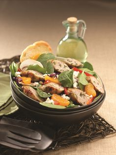 Spinach Salad with al fresco Spinach and Feta Chicken Sausage