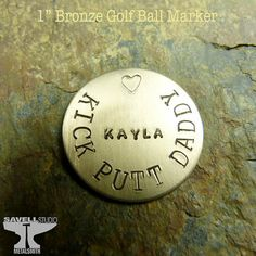 Golf Ball Gifts Golf Ball Marker - Personalized - Bronze - Hand Stamped Metal - Unisex Golf Gift - For Him - Fathers Day - Dad via Etsy Custom Fonts, Custom Stamps, Driving Quotes, Hand Stamped Metal, Senior Gifts, Dad Day, Golf Quotes, Golf Gifts, Stamped Jewelry