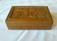 Vintage wooden jewelers carved box by IvanaSVintageGallery on Etsy, $34.00