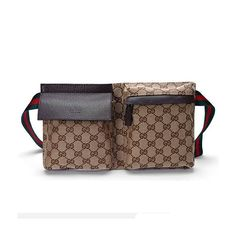 Gucci Men's Canvas Belt Bag With Signature Web Brown$159,normal price is $530