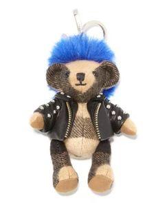 V2QRB Burberry Thomas Punk Check Teddy Bear Purse Charm, Camel