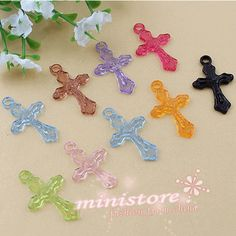 200pcs mixed color plastic cross Charm  WU385 by ministore on Etsy, $3.70