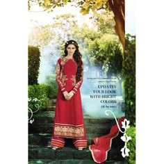 Eid Special Designer Red Staright Plazzo Style Salwaar Suit  Suit-6403( OFB-302 )Karishma