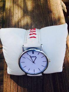 ♤✯ #Silver #case, white face baseball themed #watch.  White band with red stitching. by http://etsy.me/2g2UkF9