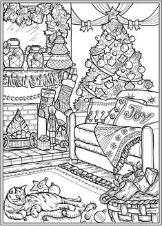 Detailed Coloring Pages, Printable Adult Coloring Pages, Coloring Book Pages, Christmas Coloring Sheets, Printable Christmas Coloring Pages, Christmas Scenes, Christmas Colors, Christmas Crafts, Christmas Drawing