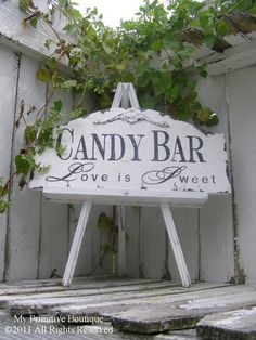 "Vintage CANDY BAR SIGN Love is Sweet Shabby by MyPrimitiveBoutique.It would be cool if they could make a ""Soda Shoppe"" one too. Chic Wedding, Wedding Signs, Wedding Vintage, Wedding Reception, Wedding App, Wedding Ideas, Wedding Rustic, Wedding Advice, Wedding Inspiration"