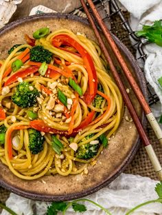 Simple, creamy, and delicious, this oil-free Spicy Peanut Noodles is brimming with nourishing veggies and ready in 30 minutes. #wholefoodplantbased #vegan #oilfree #glutenfree #plantbased | monkeyandmekitchenadventures.com Peanut Butter Sauce, Butter Rice, Lunch Recipes, Whole Food Recipes, Spicy Peanut Noodles, Vegan Party Food, Chili Garlic Sauce, Natural Peanut Butter, Vegan Pasta