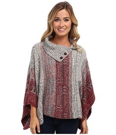 Free People Willow Poncho Sweater Red Combo