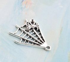 20 antique silver spider web charms charm pendant by Wangqing123