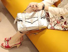 Silver Proenza Schouler bag with mules in red suede from Prada. Ps1 Bag, Jimmy Choo, Silver Bags, Spring Summer 2015, Proenza Schouler, Fall Winter, Prada Spring, Metal, Cute