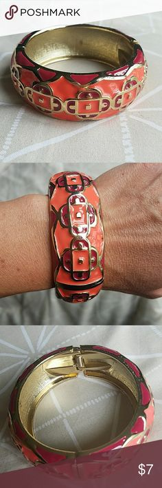 Coral Bracelet This hinged cuff is a beautiful coral and deep pink. Such a fun accessory for summer! Jewelry Bracelets