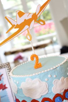 Planes theme paper cake topper pulled from the vintage banner in our printable set