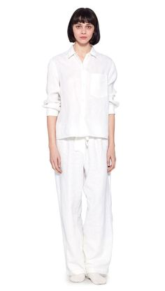 AUTUMN WINTER 2016 COLLECTION - OFF WHITE BRUSHED LINEN LONG SLEEVE RELAXED PJ SHIRT, OFF WHITE BRUSHED LINEN GATHERED BACK PJ TROUSERS, OFF WHITE CASHMERE BED SOCK