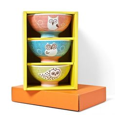 Owl Rice Bowl Set of 3 now featured on Fab.