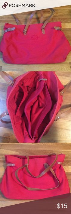 RALPH LAUREN Red Travel Bag Purse GOOD CONDITION! Size: 6.5 inches wide x 18.5 inches long. Details: On the inside there is 4 diff compartments. 1 zip up pocket that's a little smaller on the side & another zip up pocket that's much larger in the middle of the open area separating the two compartments on each side. (See Pics)  **Ralph Lauren is for advertising only. Bags Travel Bags