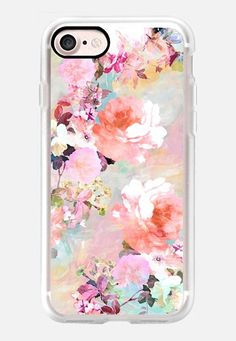 Casetify iPhone 7 Classic Grip Case - Romantic Pink Teal Pastel Chic Floral…